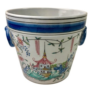 Chinoiserie Pagoda Hand Painted Planter