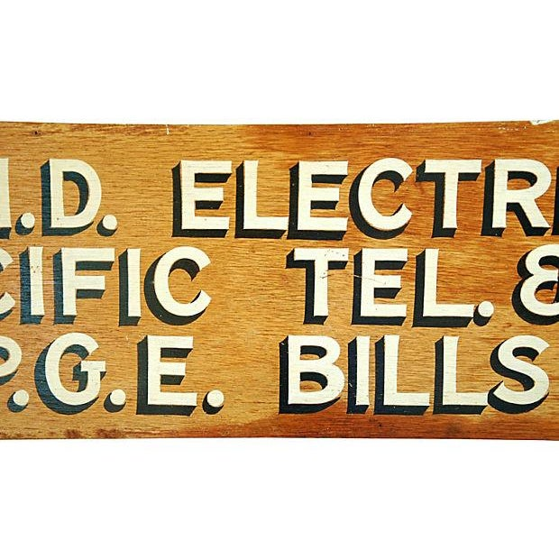 1950s Hand-Painted Wood Utility Billing Sign - Image 3 of 5