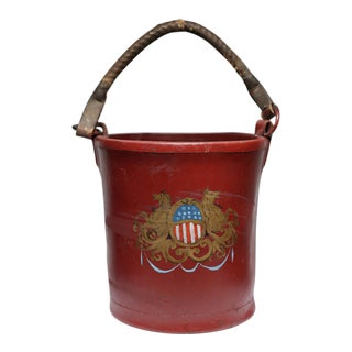 19th c. Painted Leather Fire Bucket c. 1800s