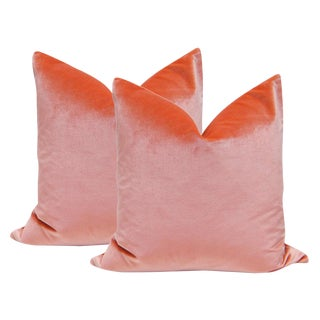"22"" Italian Silk Velvet Pillows in Coral - A Pair"