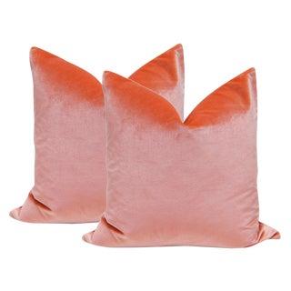 """22"""" Italian Silk Velvet Pillows in Coral - A Pair"""