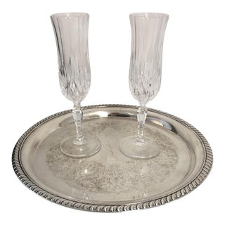 Serving for 2 Champagne Glasses & Silver Plate Tray - Set of 3