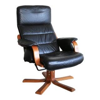 Vintage Westnofa Norway Black Leather Lounge Chair