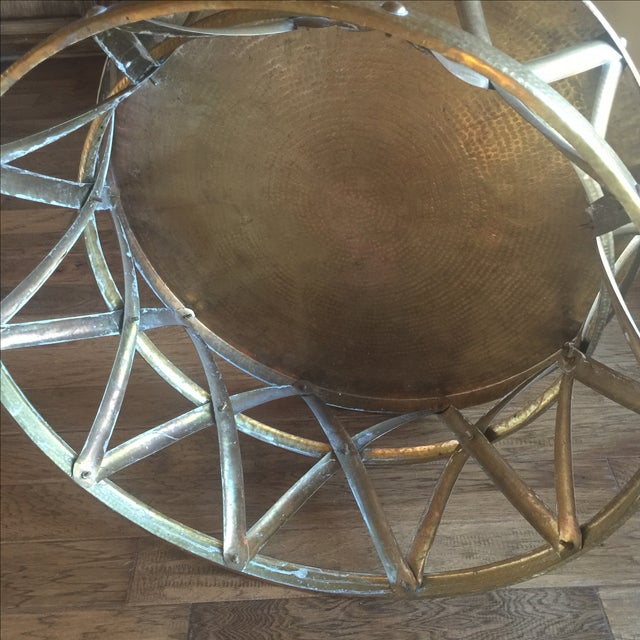 Mid-Century Hammered Brass Coffee Table - Image 8 of 8