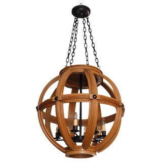 Paul Marra Large Carved Oak Sphere Chandelier