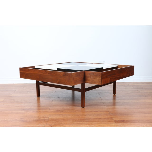Mid Century Coffee Table John Keal For Brown Saltman At: John Keal For Brown Saltman Checkered Coffee Table
