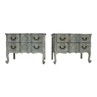Baker Furniture Serpentine Front French Country Nightstands - A Pair