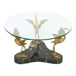 Round Marble and Brass Birds Coffee Table in the Style of Willy Daro