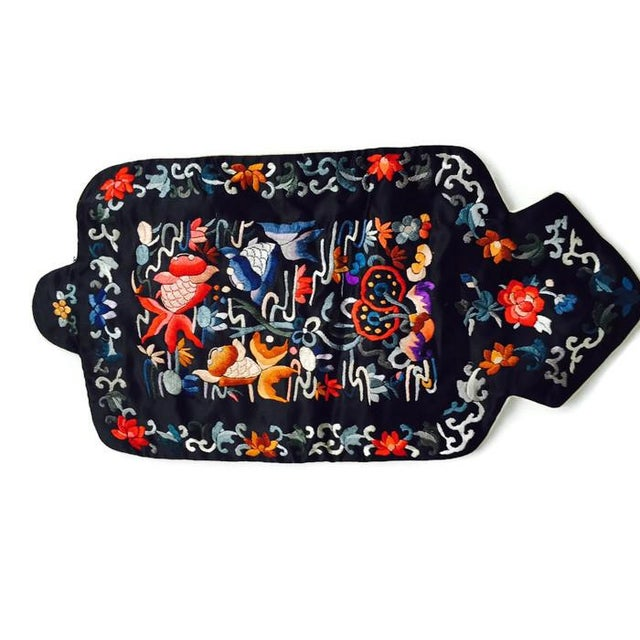 Image of Vintage Chinoiserie Satin Hot Water Bottle Cover