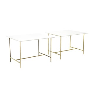 Pair of Paul McCobb Side or End Tables Brass with White Glass / Vitrolite Tops