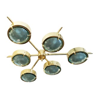 "Customizable ""Stella"" Faceted Glass Flush Mount Chandelier"