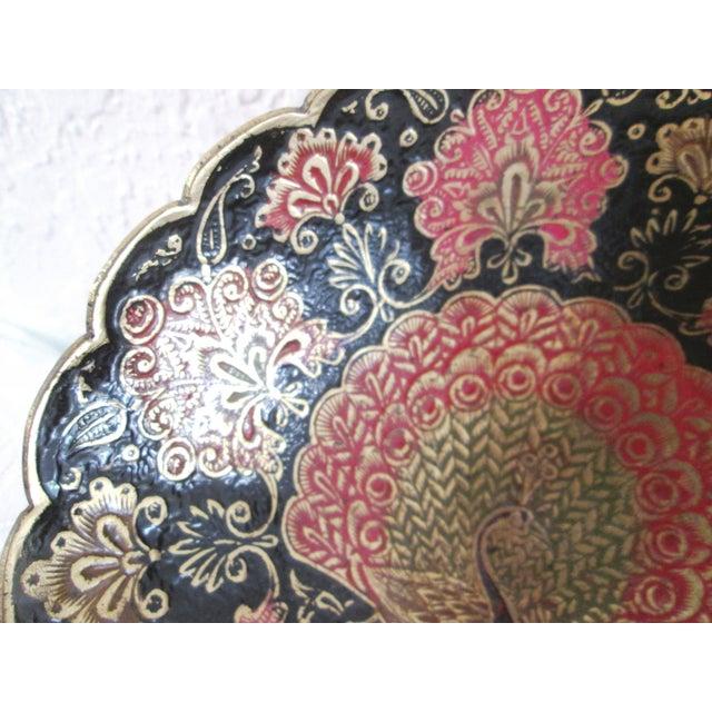 Indian Brass & Enamel Peacock Bowl - Image 7 of 8