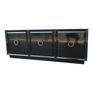 Vintage Mid-Century Dorothy Draper Style Black Lacquer Finish 3 Door Credenza