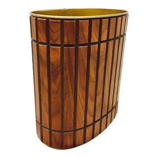 Mid-Century Modern Wood Panel Waste Basket