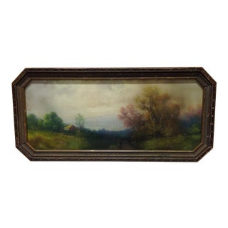 1900s Pastel Drawing of French Landscape