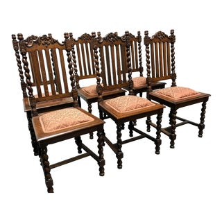 Victorian Gothic Tiger Oak Barley Twist Dining Side Chairs - Set of 6