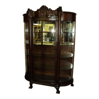 Antique Quarter Sawn Oak Lion's Heads Claw Feet China Cabinet