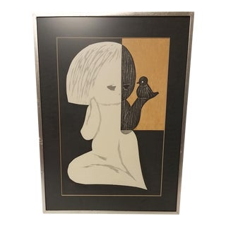 Mid-Century Japanese Wood Cut Print of Little Girl With Bird