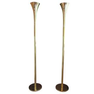 Laurel Brass Trumpet Torchieres - A Pair