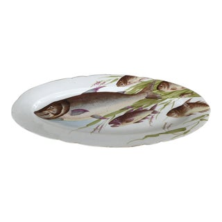 Antique Bawo Dotter Karlsbad Bbd Carlsbad Austria Hand-Painted Fish Platter