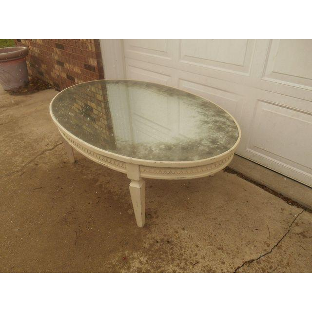Arhaus Amelia Oval Antiqued Mirrored Top Cream Coffee Table   Image 4 Of 4