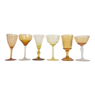 Vintage Mid Century Collected Amber Yellow Petit Wine Glasses - Set of 6