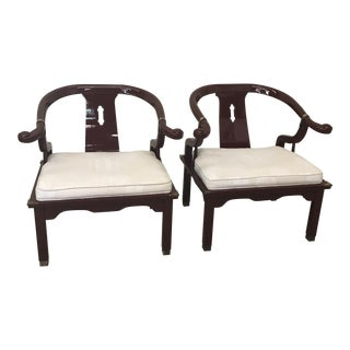 Century Asian Ming Horseshoe Back Lacquered Chairs - A Pair