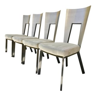Modern Curved Aluminum & Suede Dining Chairs - Set of 4