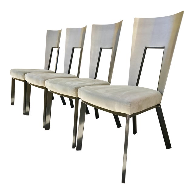 Modern Curved Aluminum & Suede Dining Chairs - Set of 4 - Image 1 of 7