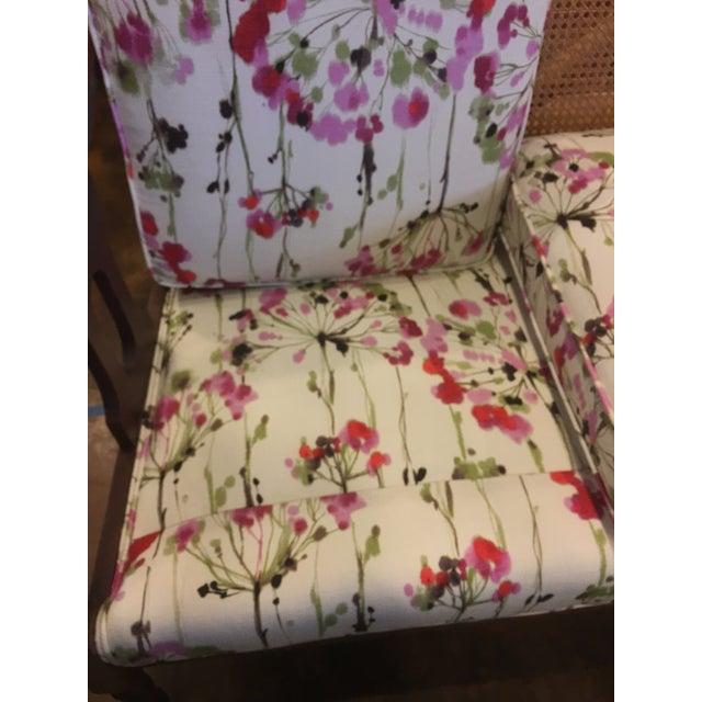 Vintage Cane-Back Spring Floral Settee - Image 5 of 7