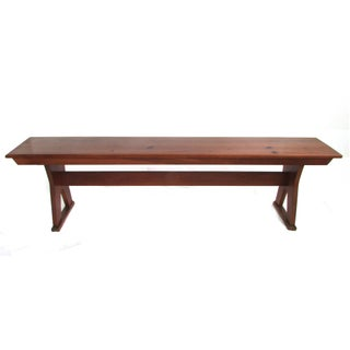 Antique Red Stained Knotty Pine Bench