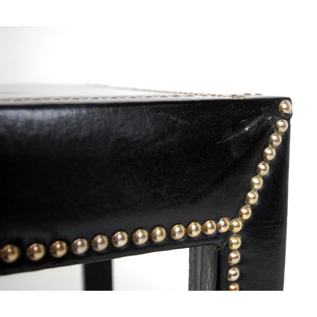 Italian Black Leather Studded End Tables - A Pair - Image 8 of 10