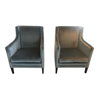Custom Blue Velvet Arm Chairs - Pair