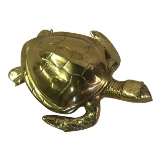 Vintage Brass Sea Turtle With Lid