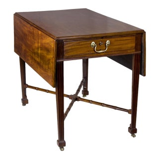 Chippendale Mahogany Drop Leaf Table with Carved Bamboo Stretchers & Reeded Marlborough legs