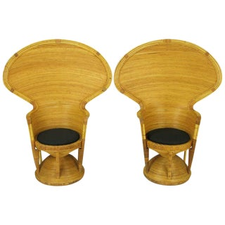 Pair Egyptian Style Rattan Cobra Chairs