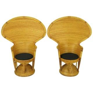 Pair Egyptian Style Rattan Cobra Chairs