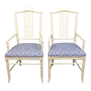 Ivory Faux Bamboo Chairs by Drexel - Pair