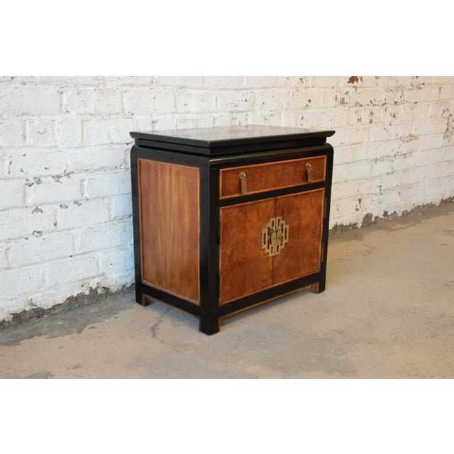 Century Furniture Chin Hua Black Lacquer & Burlwood Nightstand - Image 3 of 9