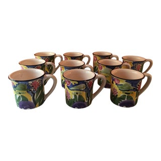 Vintage Favanol Hand Painted Martinique Mugs - Set of 10