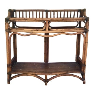 Bamboo Rattan Console 2-Tier Table