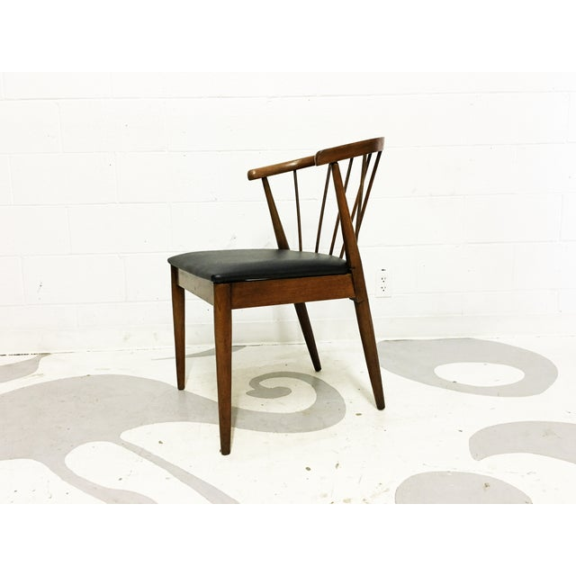Mid Century Modern Chair Spindle Back Walnut Chair - Image 3 of 6