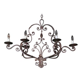 Early 20th Century French Six-Light Iron Chandelier =