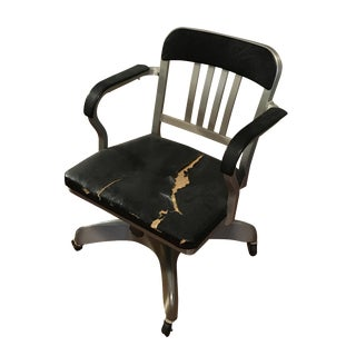 Emeco Navy Semi-Upholstered Swivel Armchair