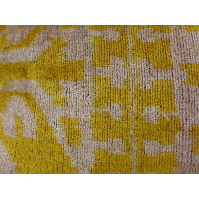 Yellow Silk and Cut Velvet Pillow - Image 4 of 7