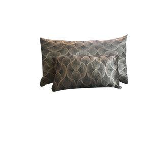 Navy & Gold Moroccan Silk Handmade Decorative Pillows - A Pair