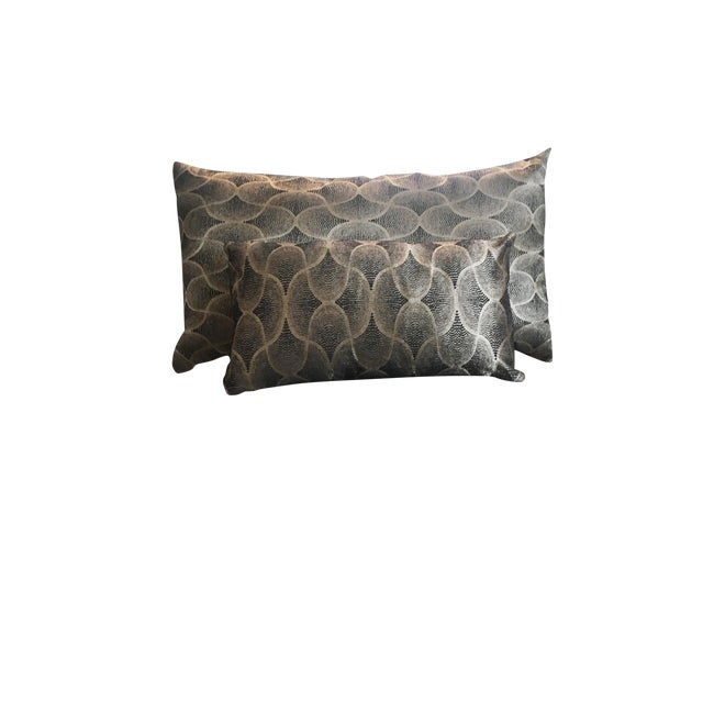 Image of Navy & Gold Moroccan Silk Handmade Decorative Pillows - A Pair