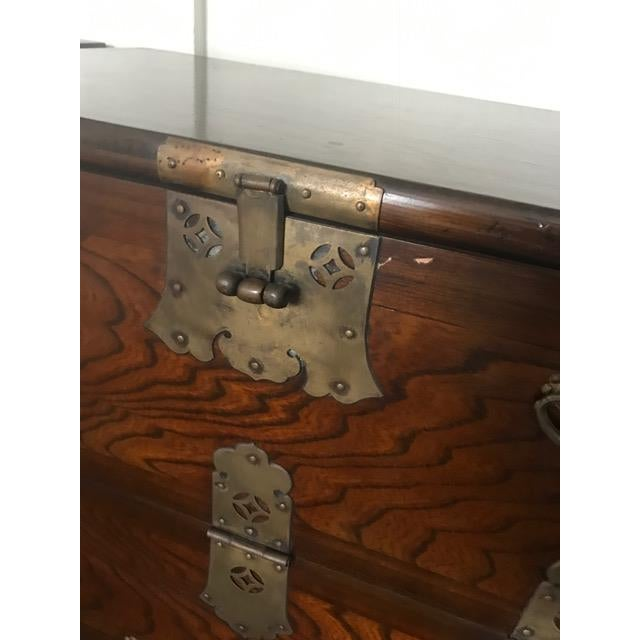 Image of Brass Hardware Chinese Nightstands - A Pair