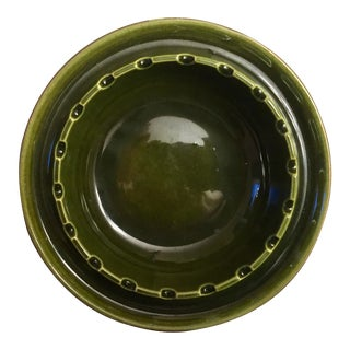 Vintage Bottle Green Ceramic Ashtray