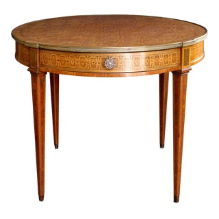 Elegant French Louis XVI Style Tiger Mahogany & Kingwood Inlaid Bouillotte Table